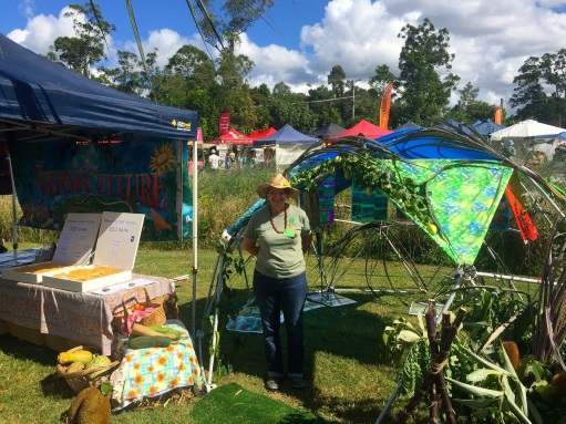 Having fun with Val at the Permaculture Noosa stand! — in Cooroy, Queensland.
